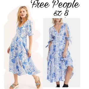 Free People Forever Always Printed Tie-cuffs dress